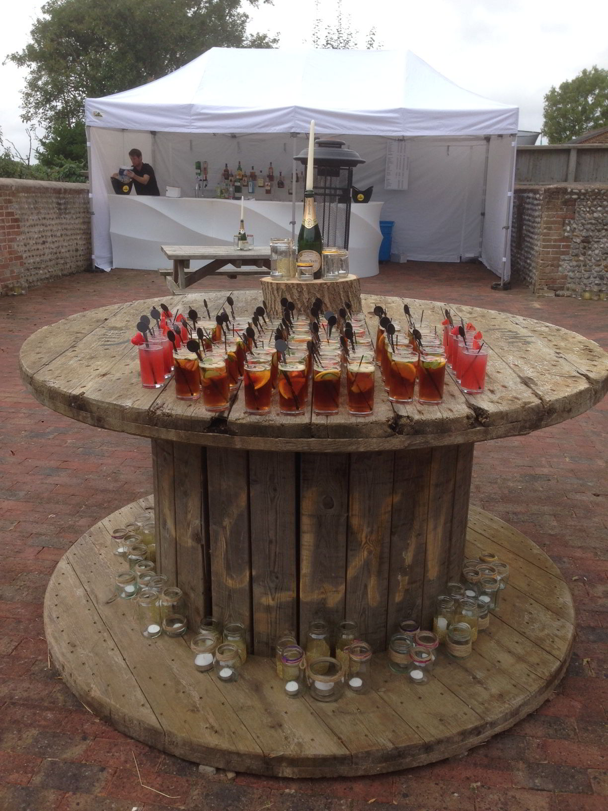 Outdoor wedding bar at Chilley Farm